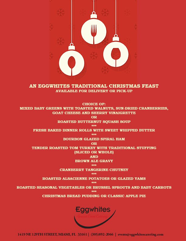 Christmas dinner delivery menu | Eggwhites Catering Miami