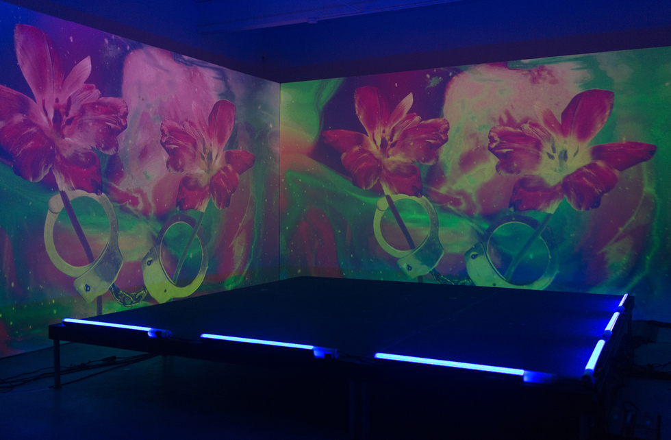 Nick Thomm's hyper-pigmented projection installation at the Soundcloud x 1800 Tequila Art Basel Party | Wynwood Arts District