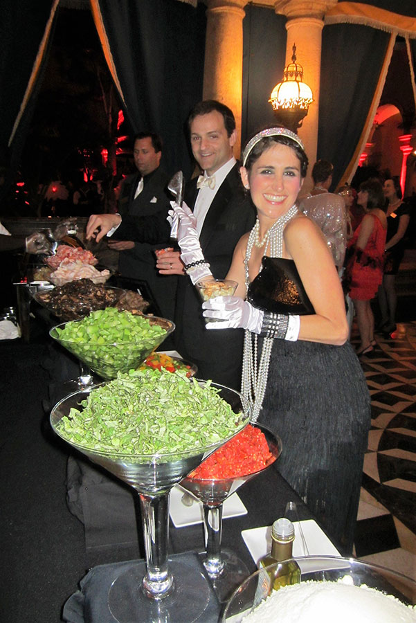 Mac n cheese station at Americana themed party catering in South Florida