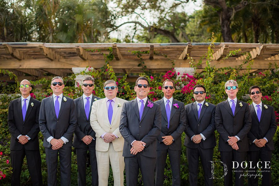 2018 Wedding Colors | Ultra Violet | Groomsmen look dapper and trendy in light purple ties and charcoal grey suits