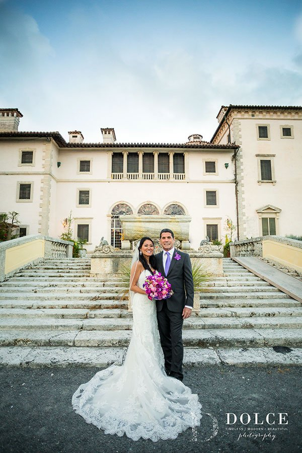 Wedding portrait at Vizcaya Museum and Gardens | Kristine and Manny