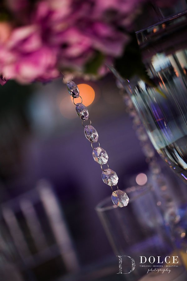 Wedding Table Décor | Floral Centerpiece with Crystal Bling