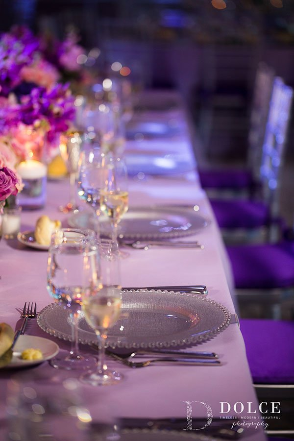 2018 Wedding Colors | Plum seat cushions at this Vizcaya wedding reception
