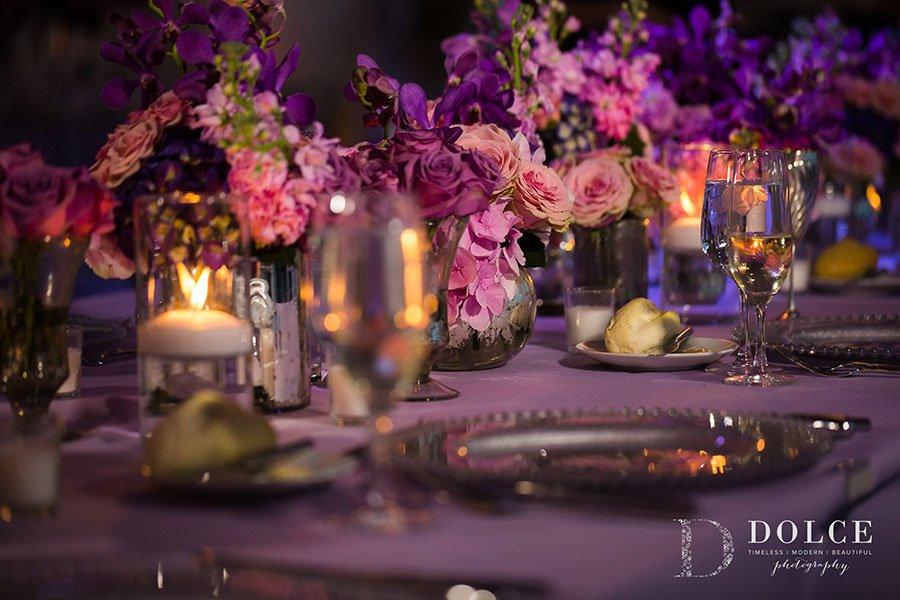 Romantic ultra violet table decor at this Vizcaya wedding reception