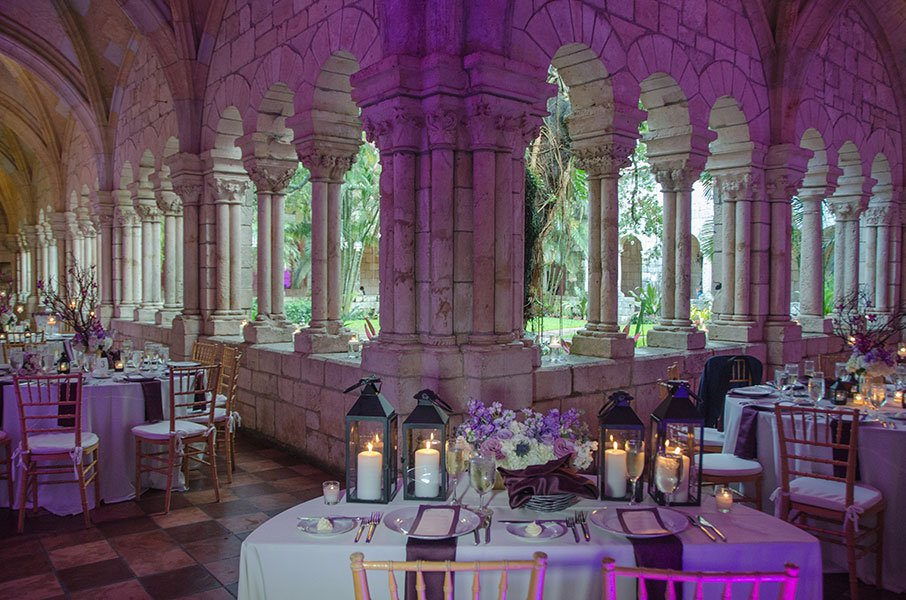 2018 Wedding Colors | Ultra Violet lighting | Ancient Spanish Monastery wedding