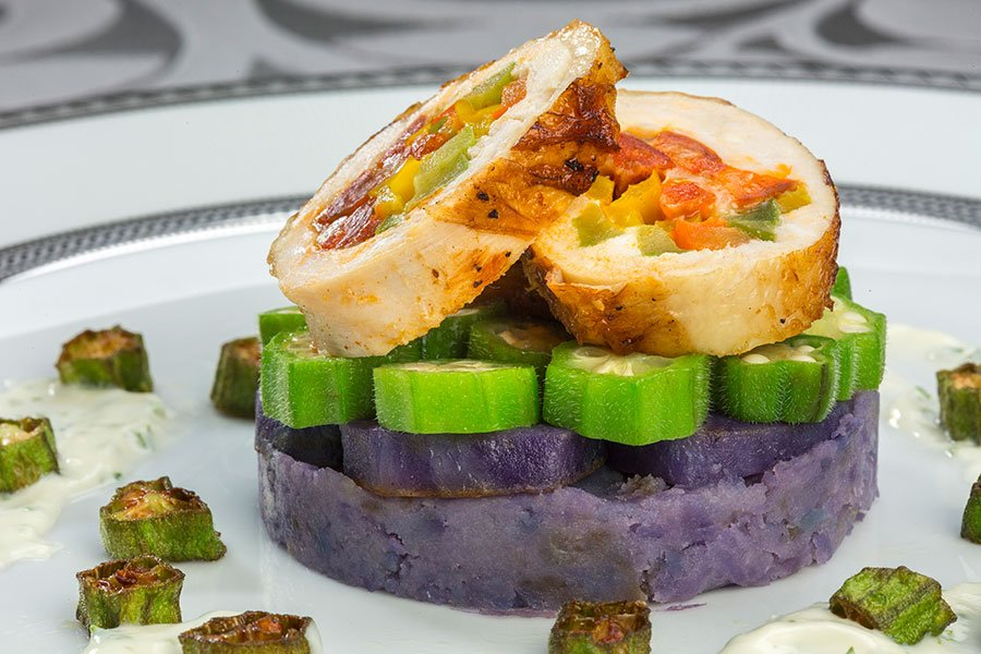 Chicken Roulade filled with Chorizo, Fontina,, Red Peppers and Spinach with Okra and Purple Peruvian Potatoes