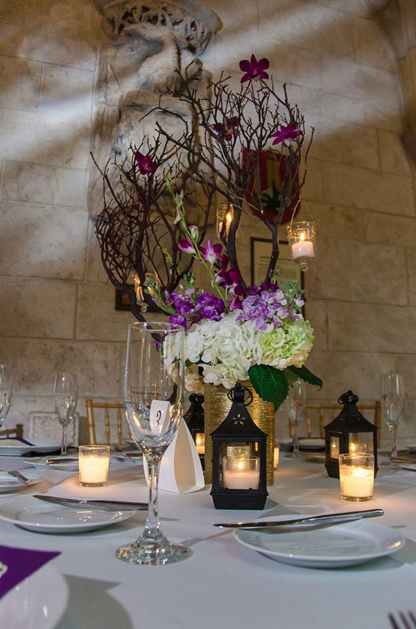 2018 wedding colors | ultra violet centerpiece