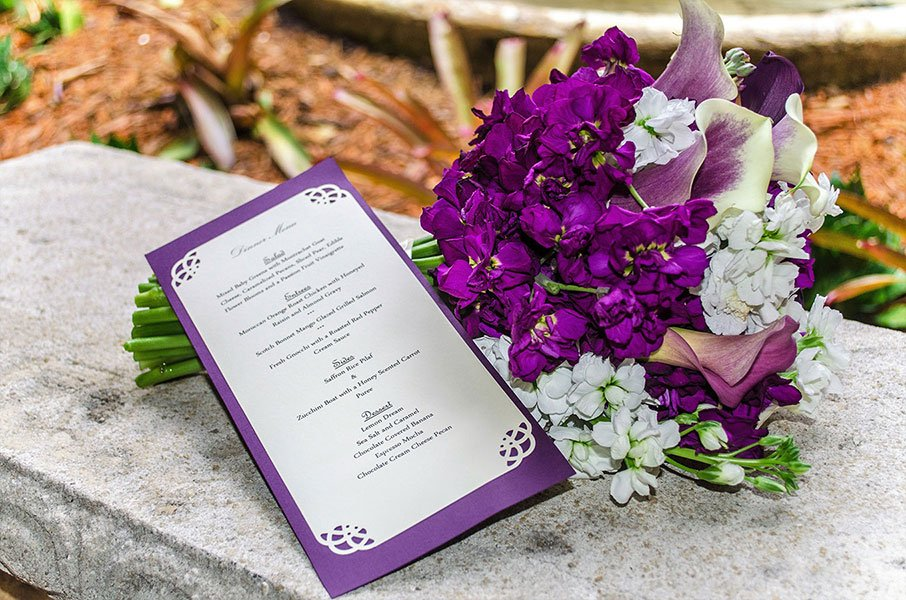 2018 Wedding Colors | purple menu card | Ancient Spanish Monastery wedding