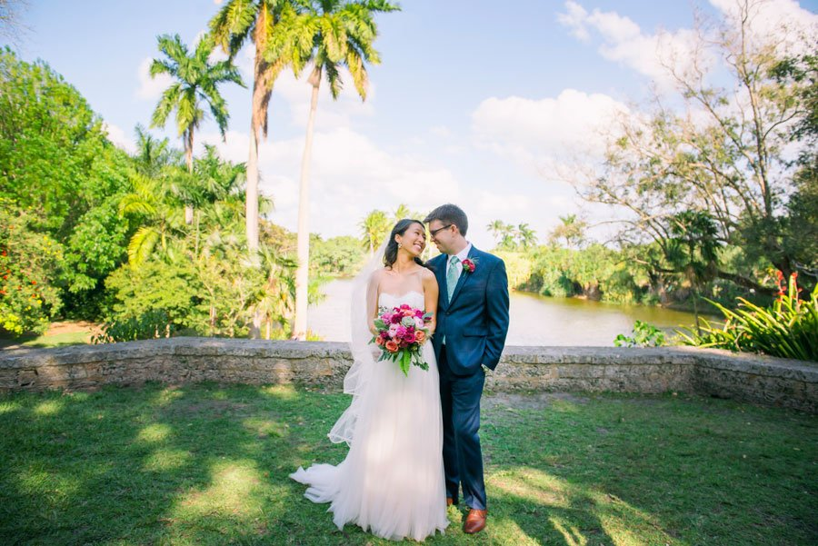 Bride and Groom at their Deering Estate wedding