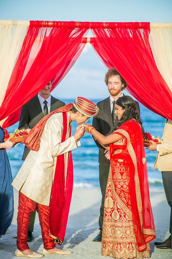 Traditional Indian Wedding Ceremony on the beach at Wright By The Sea Hotel | Delray Beach