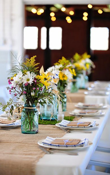 Picnic Decor | Burlap Table Runner with Wildflowers