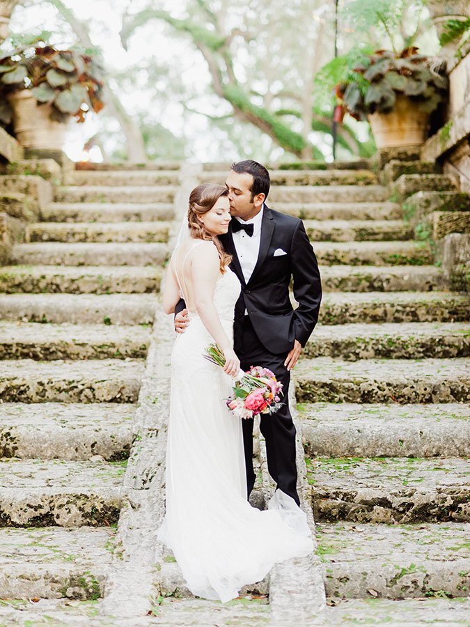 Bride and Groom at Vizcaya Museum & Gardens | Molly and Raj