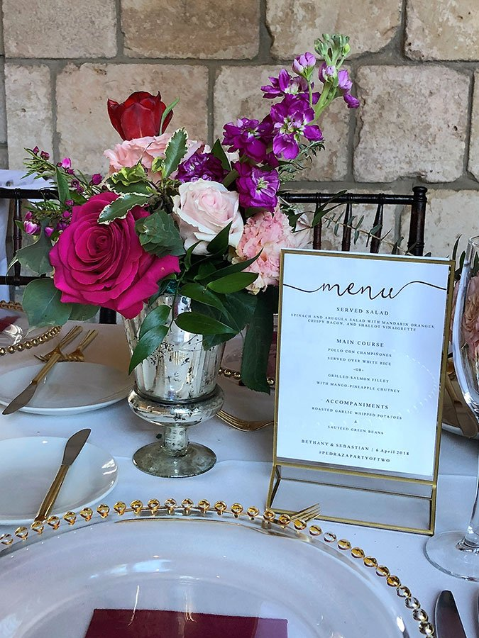 Dinner menu | Bethany and Sebastian wedding at Ancient Spanish Monastery