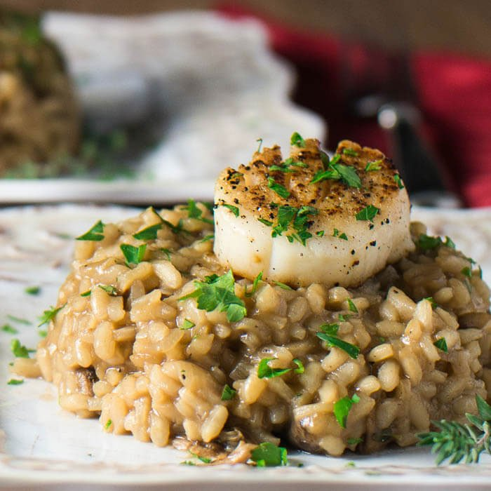 2019 Wedding Trends | Small Plates | Seared Sea Scallop w Wild Mushroom Risotto