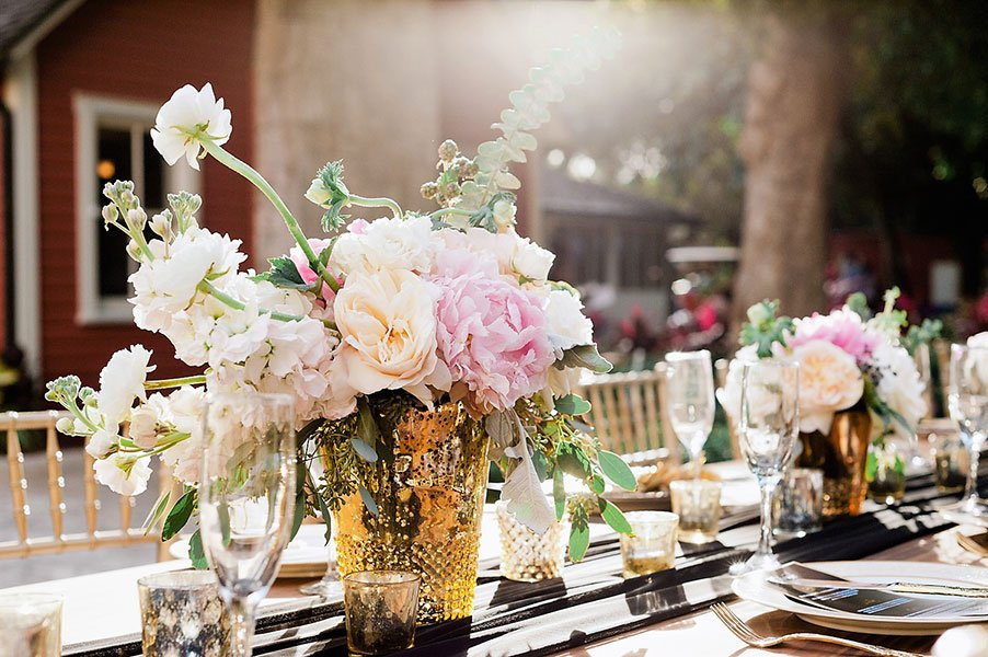 vintage wedding decor | mercury glass centerpieces