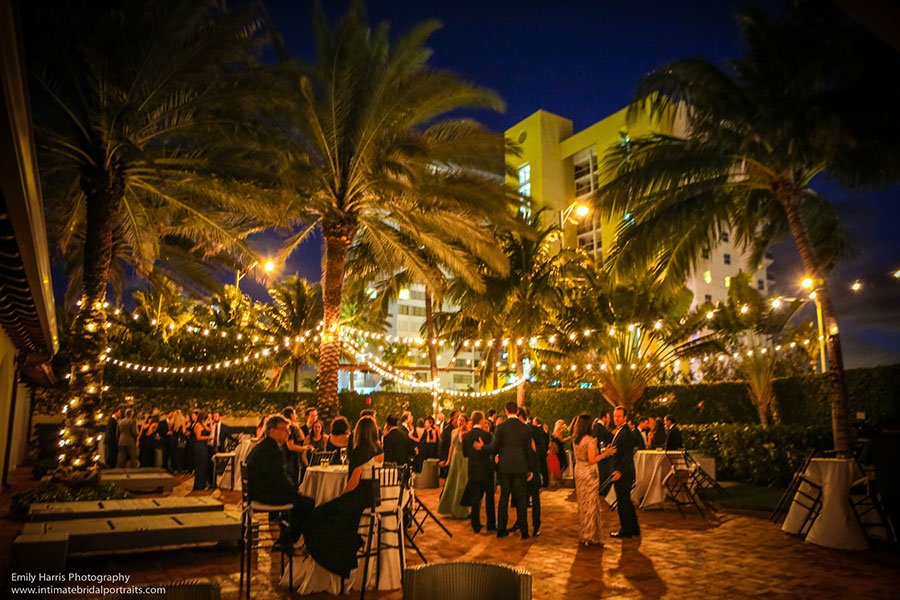 Cocktails in courtyard at The Bath Club Miami Beach wedding reception