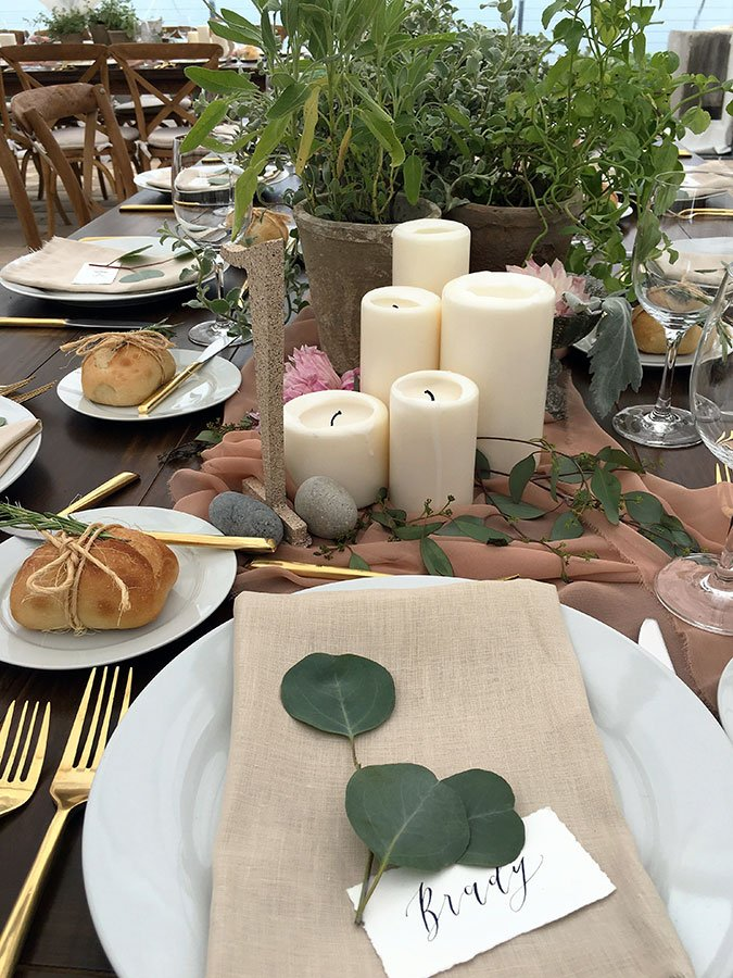 Eco-friendly wedding decor | Potted herbs