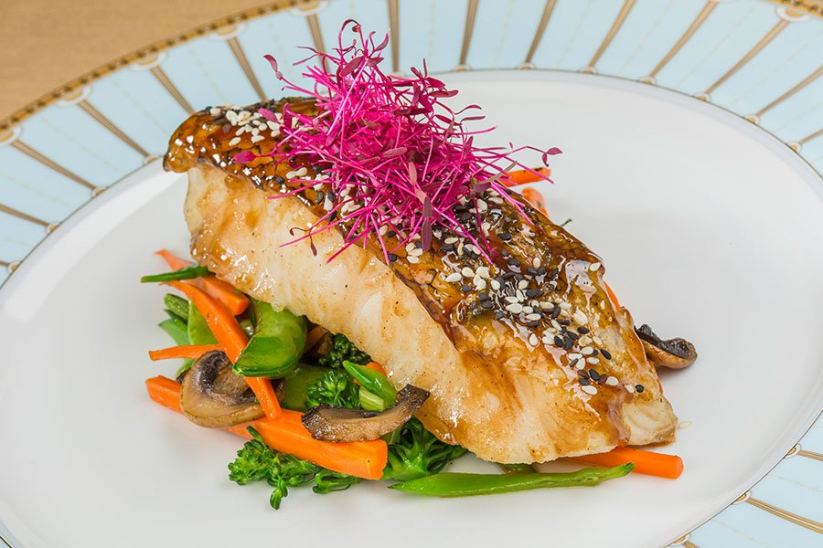 Dinner entree | Miso Glazed Sea Bass with Asian Vegetables