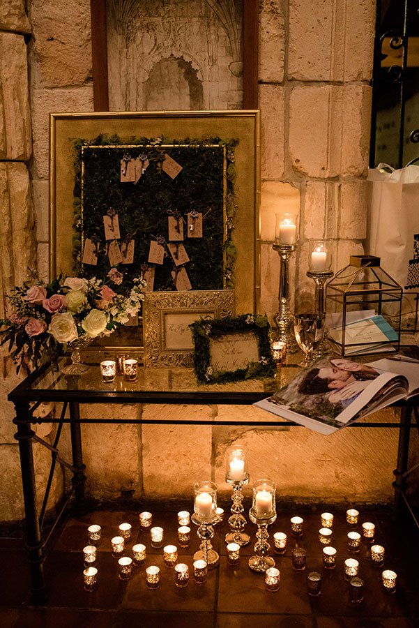 eco friendly wedding ideas | candlelit escort card table