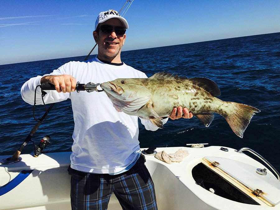 Chef Gary Lampner of Eggwhites Catering Miami fishing for Black Grouper