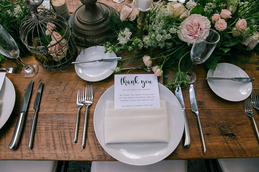 Eco-friendly wedding decor | Whimsical, shabby chic table top decor