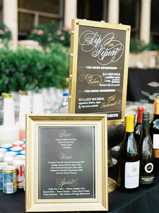 Outdoor Wedding Venues Miami Thalatta Estate Reception Bar Signs
