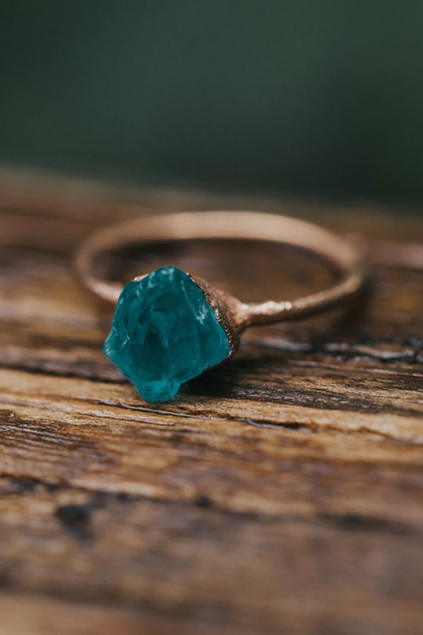 Non traditional wedding rings 2019 | raw cut blue apatite by Olivia Mar
