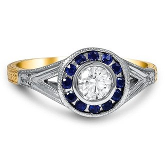 Non traditional wedding rings 2019 | Mixed metal sapphire and diamond bezel halo ring