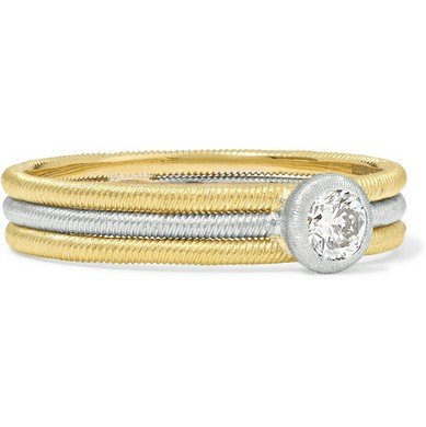 Non traditional wedding rings 2019 | Bucatelli yellow and white gold engagement ring