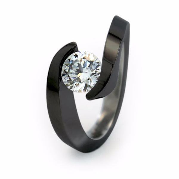 Non traditional wedding rings 2019 | Stella Black Titanium engagement ring