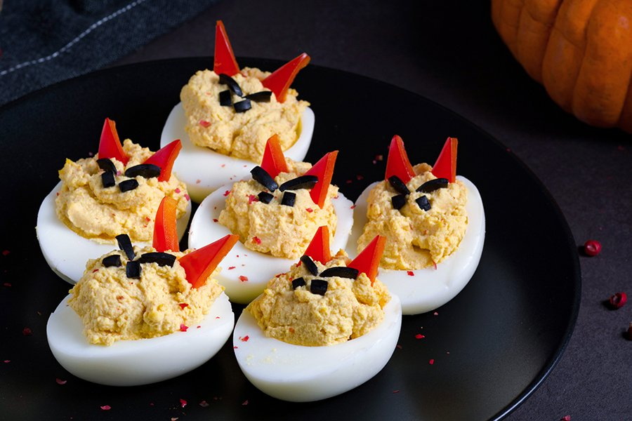 halloween finger foods | devil eggs