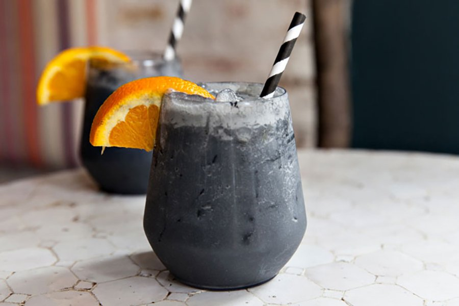 halloween themed catering | activated charcoal cocktail