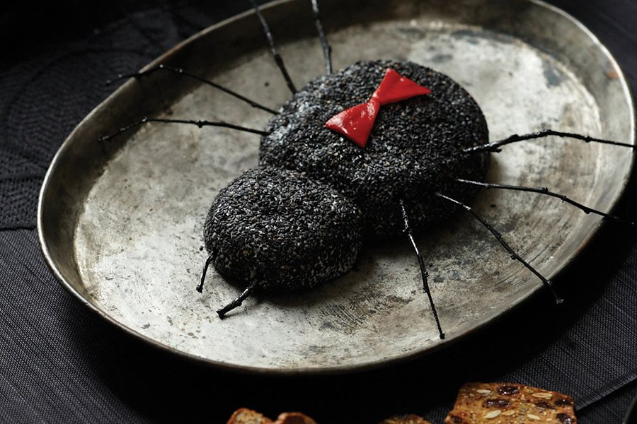 halloween food ideas | goat cheese black widow
