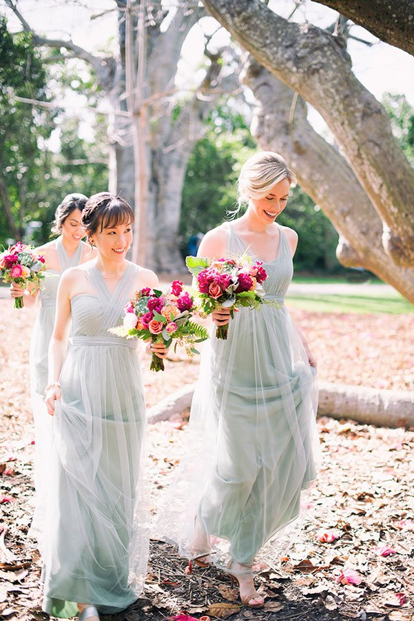 tropical bridesmaid dresses | tropical weddings