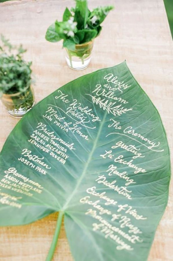 tropical wedding reception ideas | large leaf program