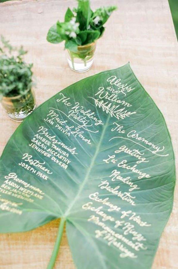 tropical wedding reception ideas | large leaf program