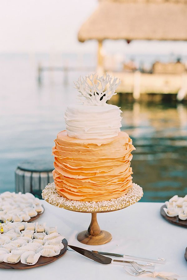 wedding color palette | tropical coral ombre wedding cake