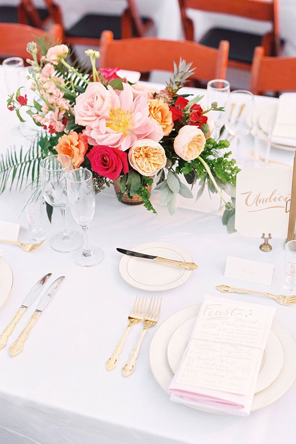 red, peach and pink tropical centerpiece | tropical wedding flowers