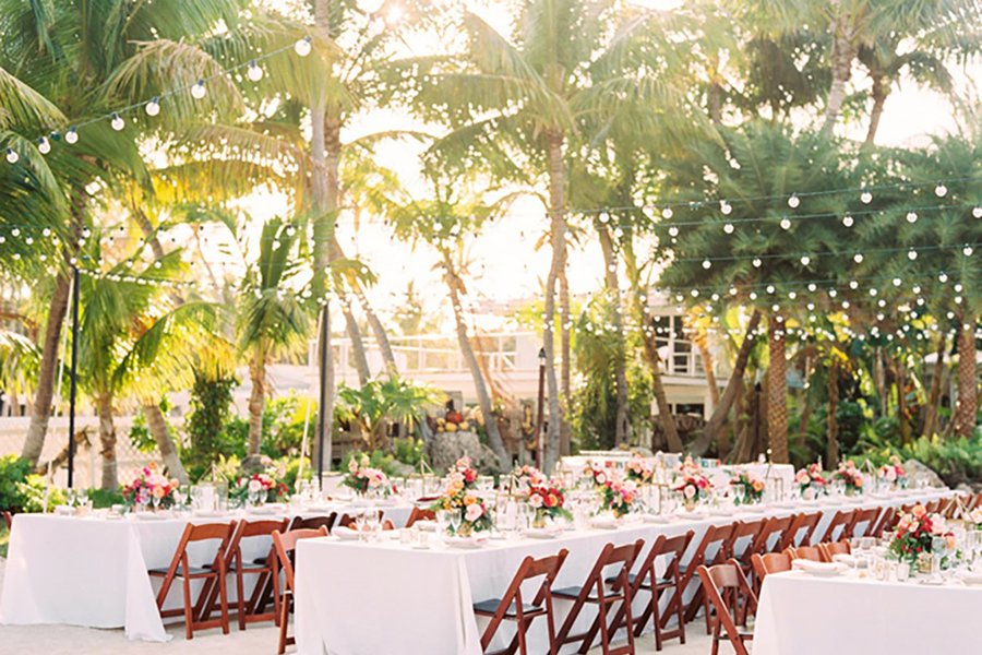 outdoor beach party set-up