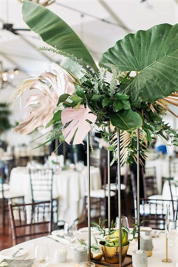 tropical wedding reception ideas | foliage centerpiece