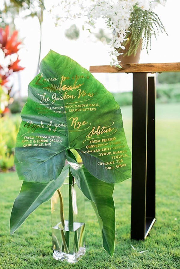 tropical wedding reception ideas | large leaf drink menu