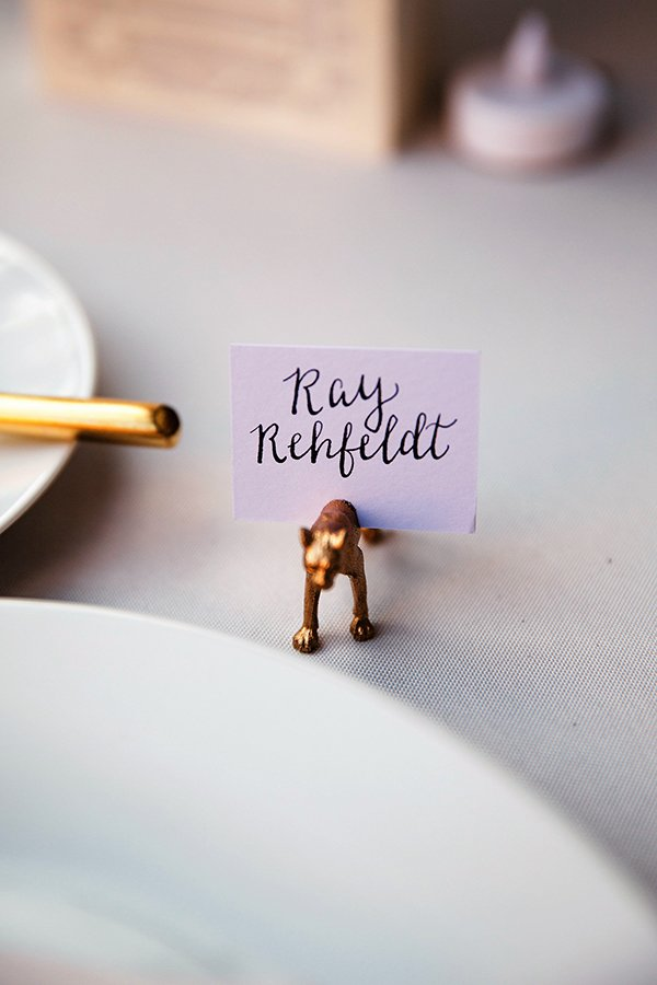 statement escort cards | mini gold animal