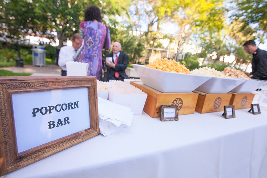 pre-ceremony popcorn bar | miami beach botanical garden