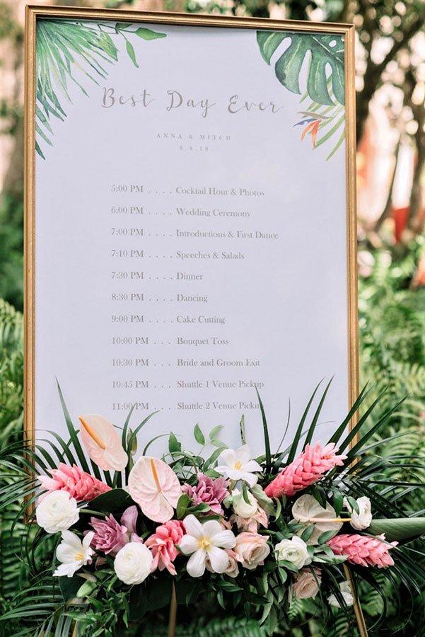 wedding themes | tropical wedding reception signage