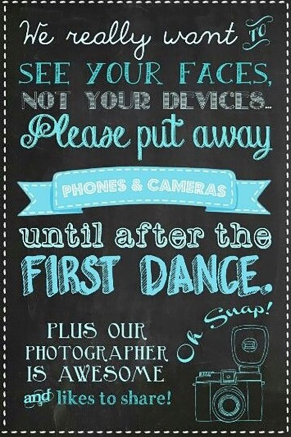 wedding reception ideas | unplugged wedding ceremony | sign