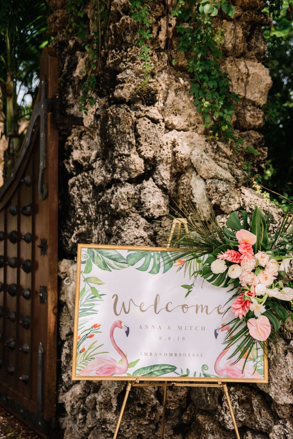 wedding themes | tropical wedding reception welcome sign