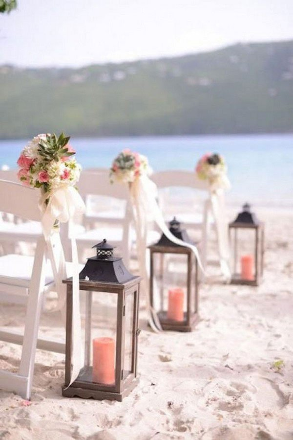 wedding colors | coral candles for aisle decor