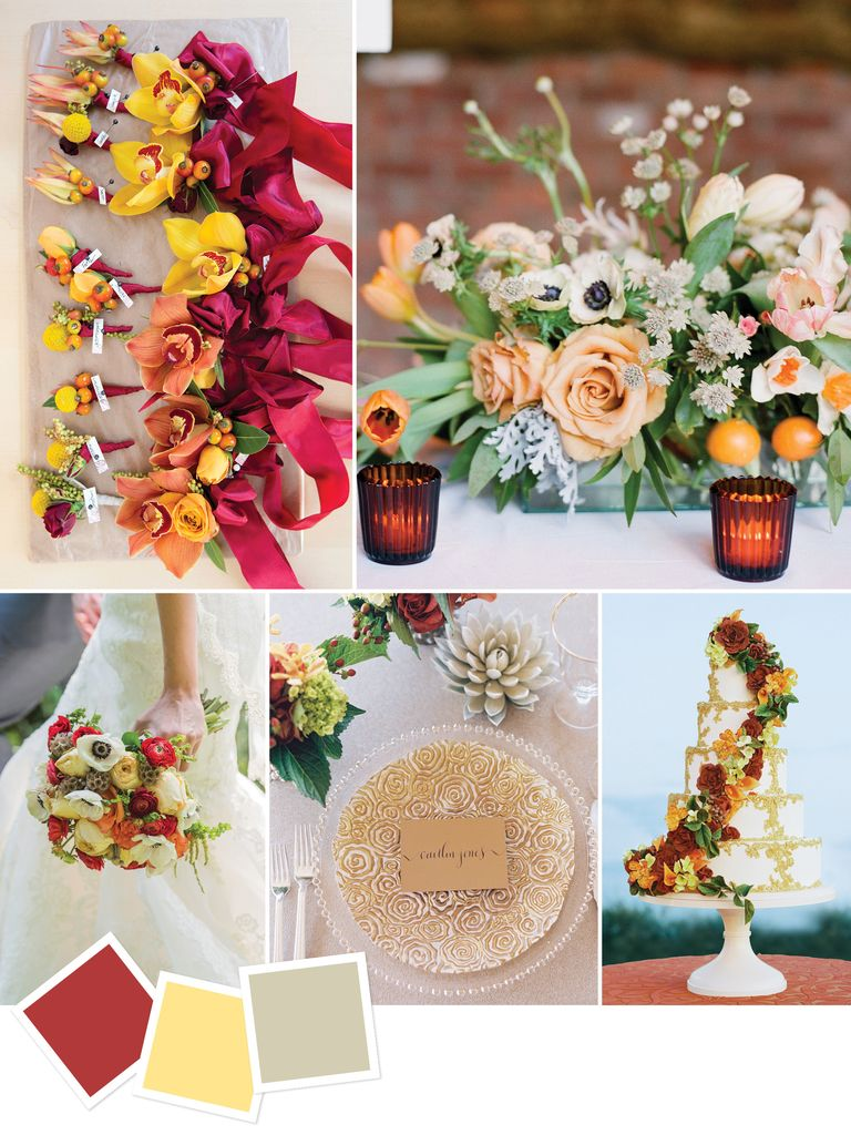 unique wedding color schemes | cinnamon yellow beige