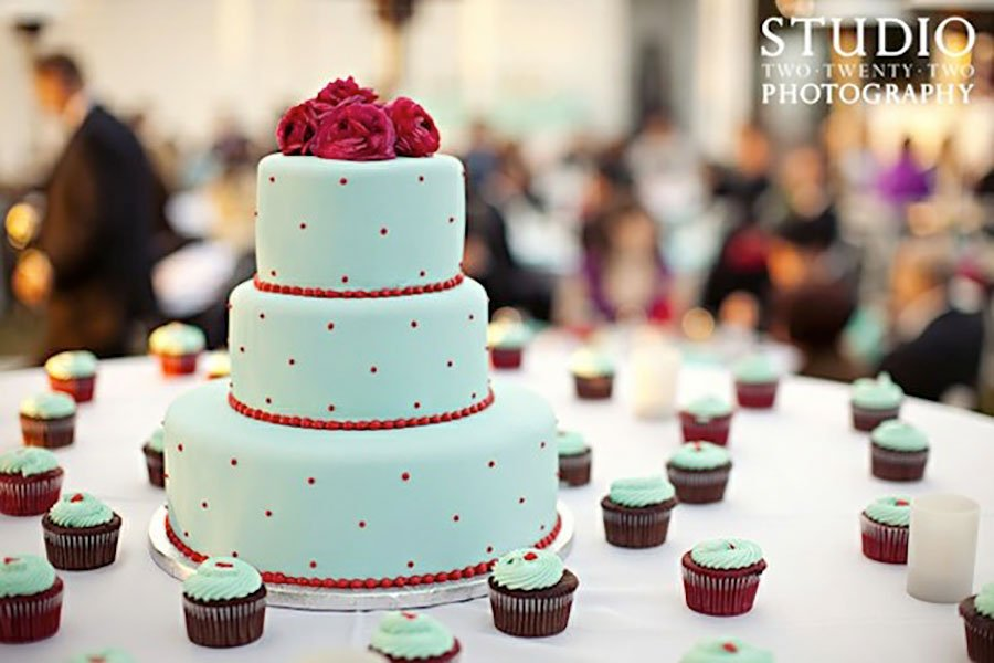 retro wedding color palette | mint and pomegranate red wedding cake