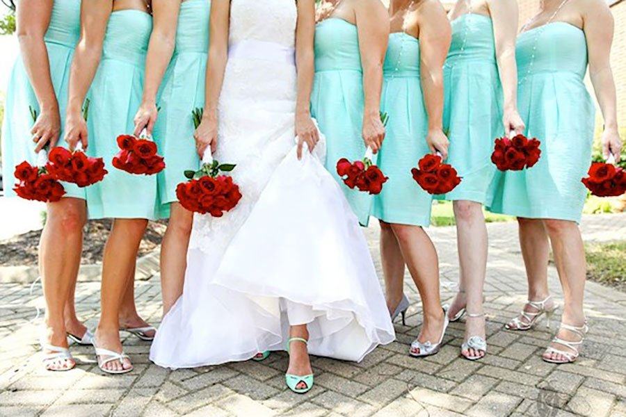 retro wedding color palette | mint and pomegranate red